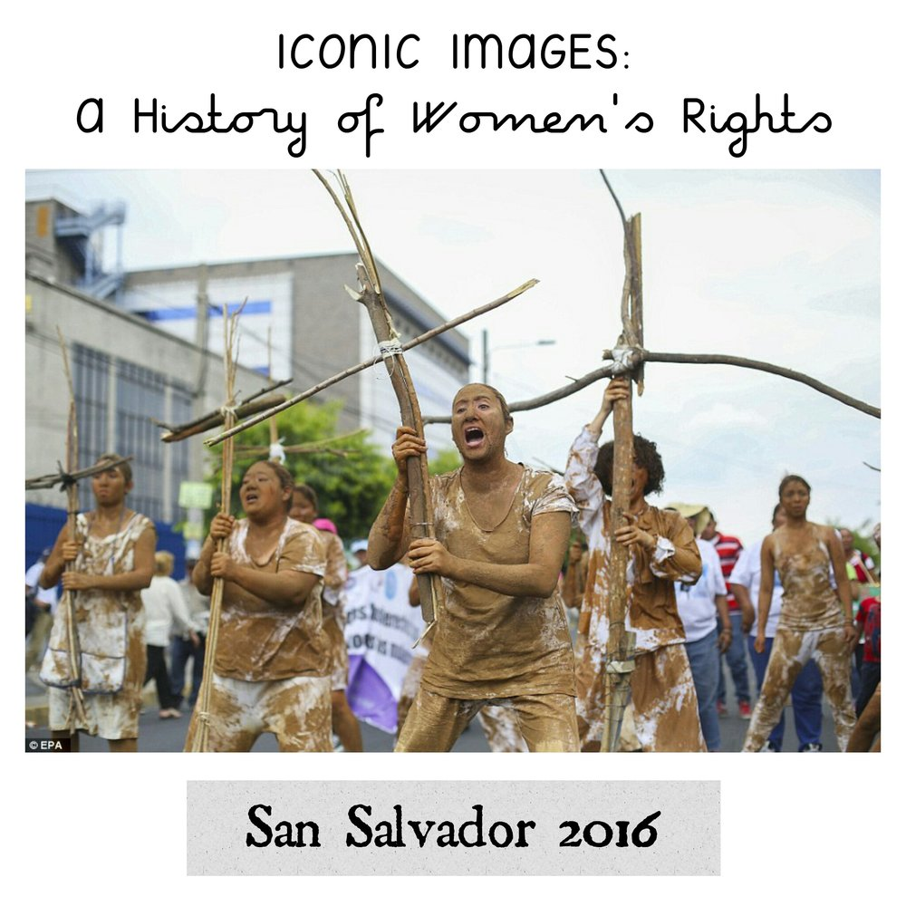 - Women from different feminist and human rights organisations march in San Salvador.