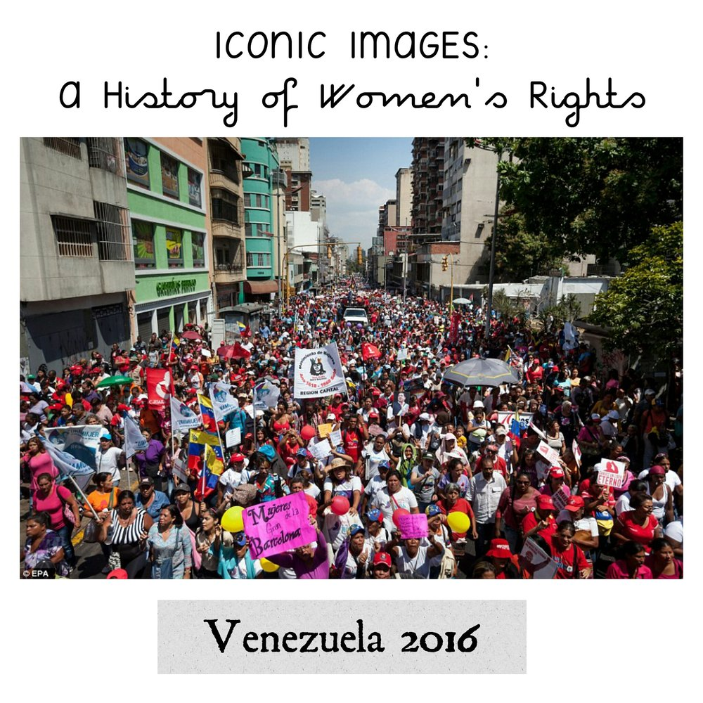 - Demonstrators and feminist groups fill the streets of Caracas.