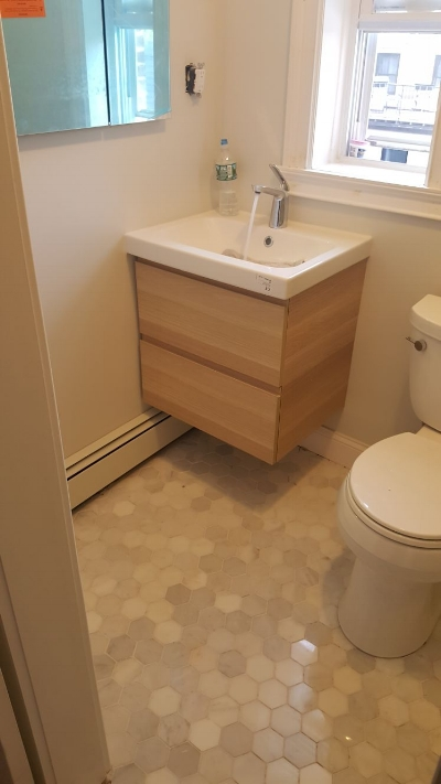Newly renovated bathroom in Downtown Jersey City