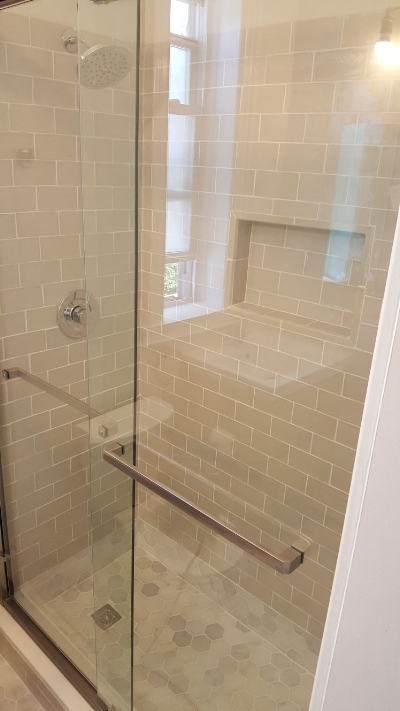 Custom tile work in new shower in Downtown Jersey City