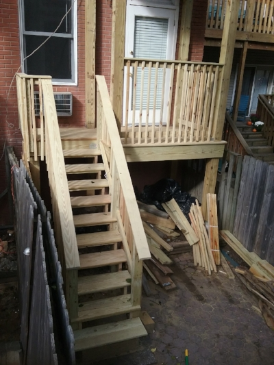 Stairs going up to Deck in Hoboken