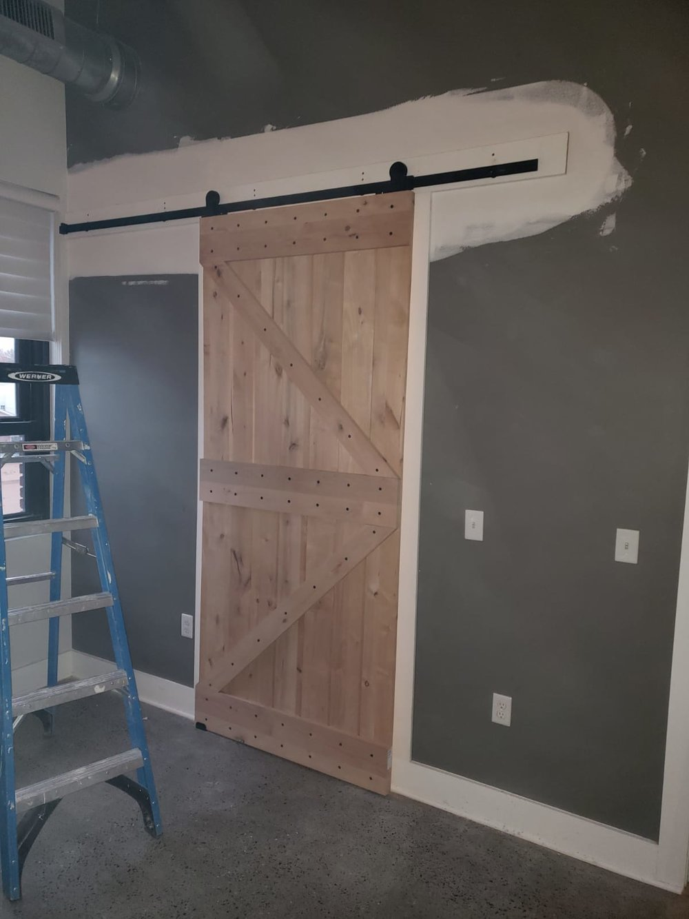 Custom over sized barn yard door installation