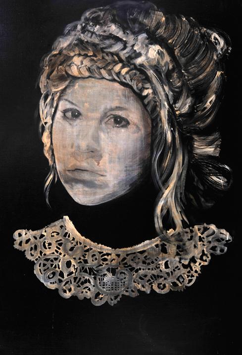Stuck like a statue 2012 tempera, acryl en alkyd op doek 40 x 100 cm