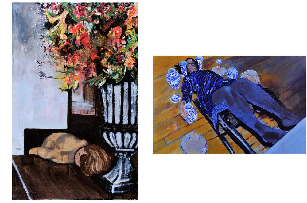 Holding back 2012 tempera en acryl op doek 130 x 200 cm