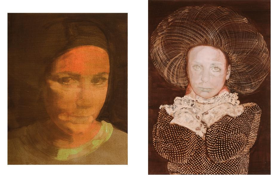Zonder titel 2008 schilderij op doek 50 x40 cm  Zonder titel 2008 schilderij op doek 100 x 70 cm