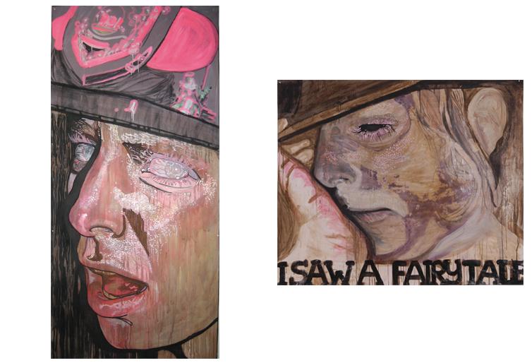 I-wittness 2006 tekening op papier 210 x 80 cm   I saw a fairytale 2006 tekening op papier  150 x 180 cm