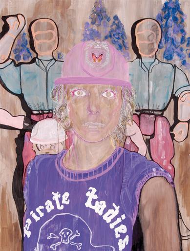 Pirateladies 2006 tekening op papier 195 x 150 cm