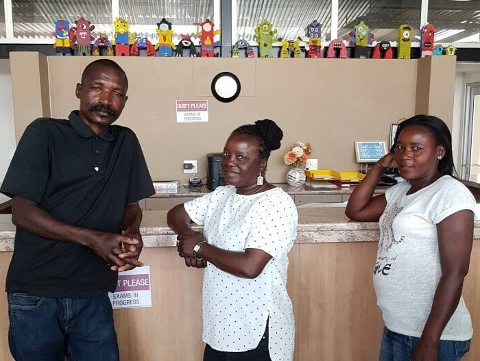 The Support Team  - The team keeping everything looking good, and running smoothly, our hard working support staff; Johannes Dipilashimwe, Hanna Hidinua and Klaudia Shangheta