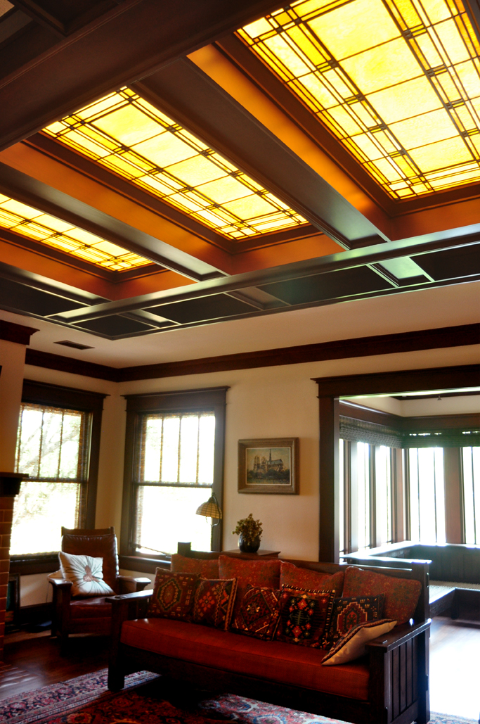 These windows are based on the laylights Frank Lloyd Wright designed for the Tomek House as per the client's request.