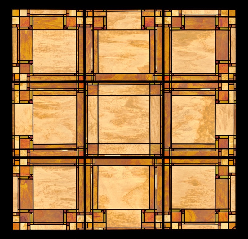 This laylight for a home in Connecticut is loosely inspired by the art glass designs of   William Gray Purcell and George Grant Elmslie  .