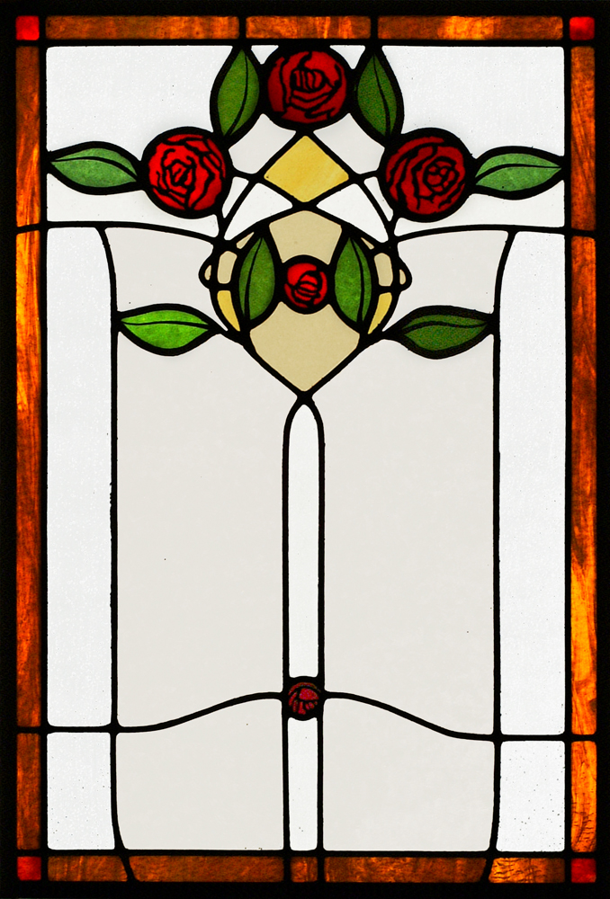 This is an original design in the English Art Nouveau style. Made of hand-painted and fired German glass.