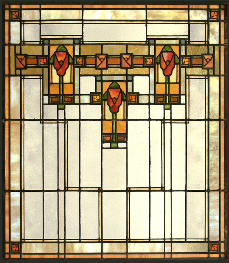 Another Bradbury and Bradbury inspired window, this time based on their   Natural Prairie Frieze  .