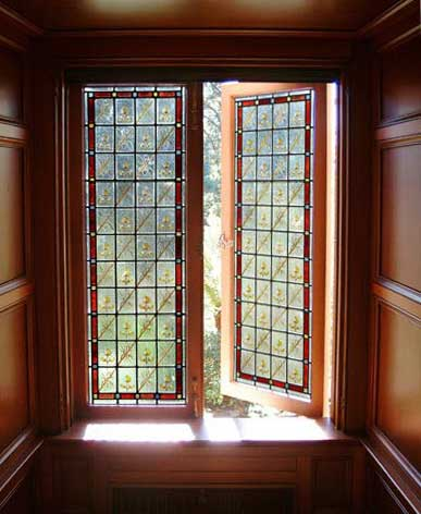 Based on a window style that was common in the 1890's for a home library in Piedmont, California.