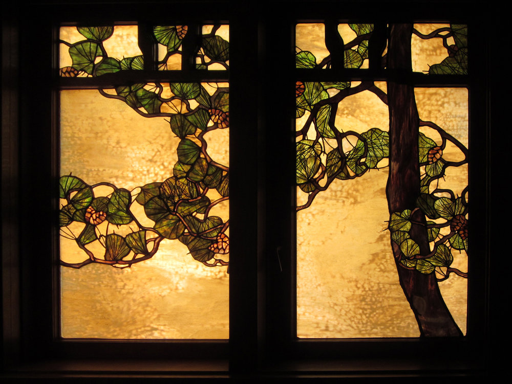 Pine bough window detail.