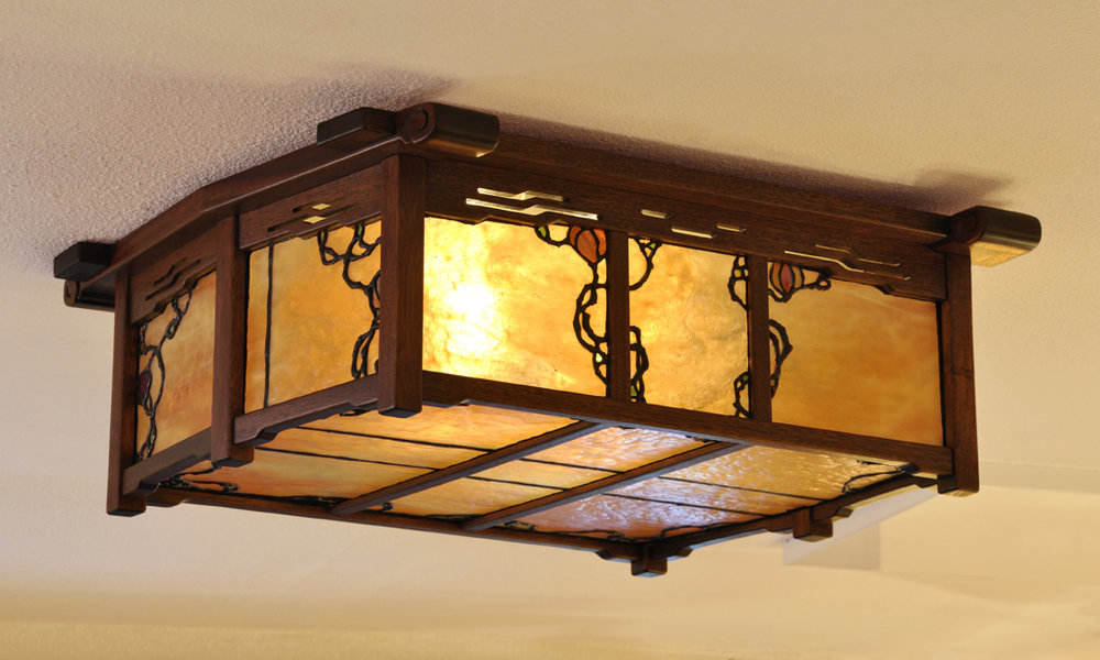 Mahogany light by   Old California Lantern Company  . Art glass design and fabrication by Theodore Ellison.
