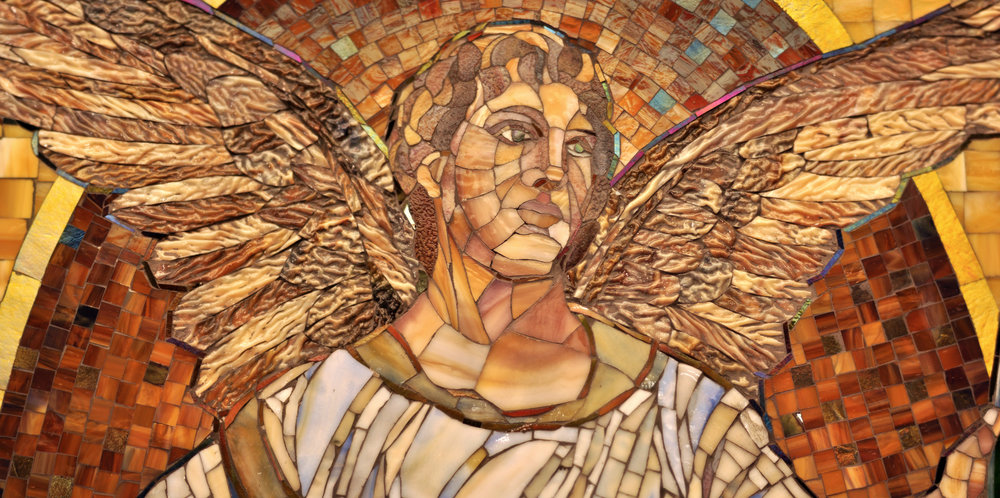Our workshop is a few blocks from a monumental Tiffany Studios mosaic, and the techniques we used in this piece, including silver backing, and the combination of various hues to create color harmonies was inspired by careful study of the original work.