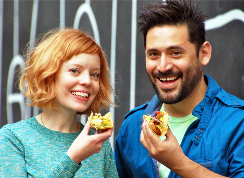 The Taco Eaters: Creative Director Angela Wagner, Creator & Chef Jean Valcarcel..