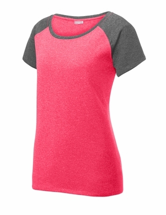 Ladies Curve Neck Raglan Sleeve Tee
