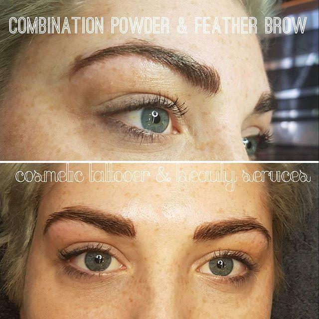 🌸 Combination Powder & Feather brow 🌸 #cosmetictattooer #cosmetictattoo #pmu #permanentmakeup #beauty #perfectbrows #feathertouchbrows #powderbrow #reneecosmetictattooer #girlswithtattoos #essentialbodybasics #foster #taylorslakes #richmond #teamfineline