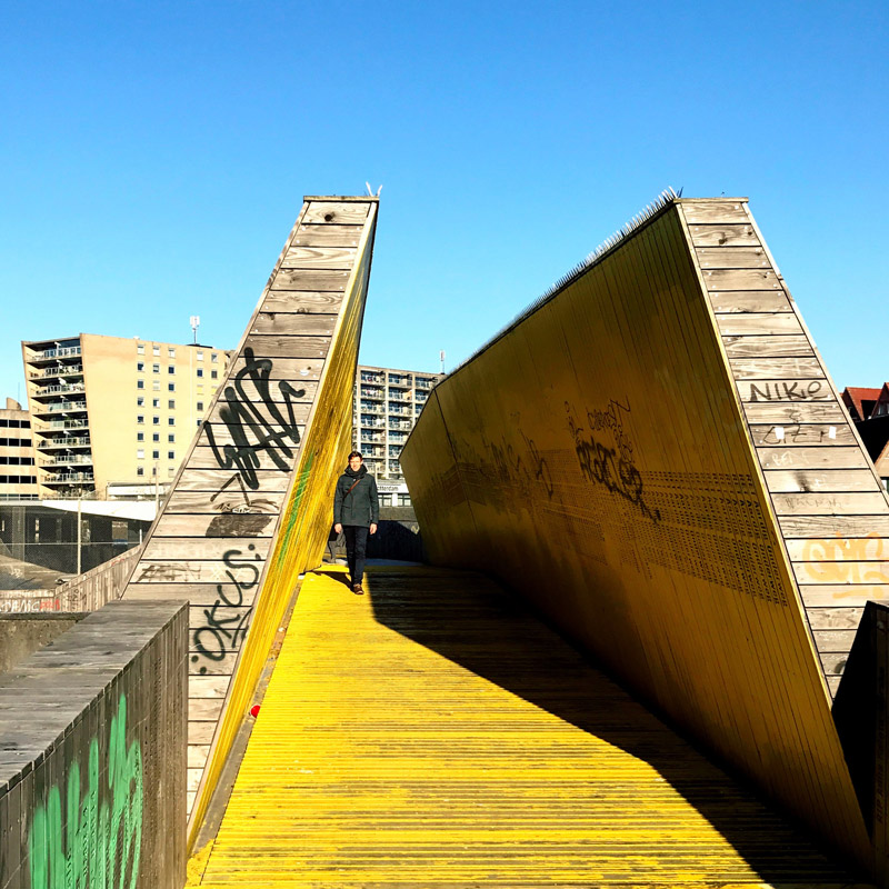 A section of the Luchtsingel bridge in Rotterdam.