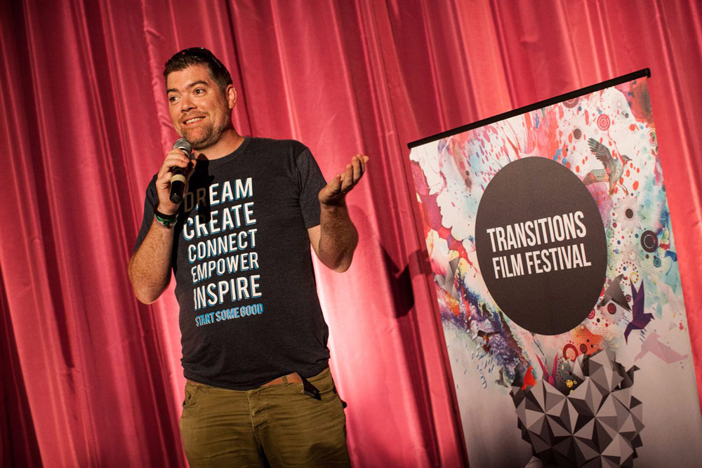 Tom speaking at Transitions Film Festival.