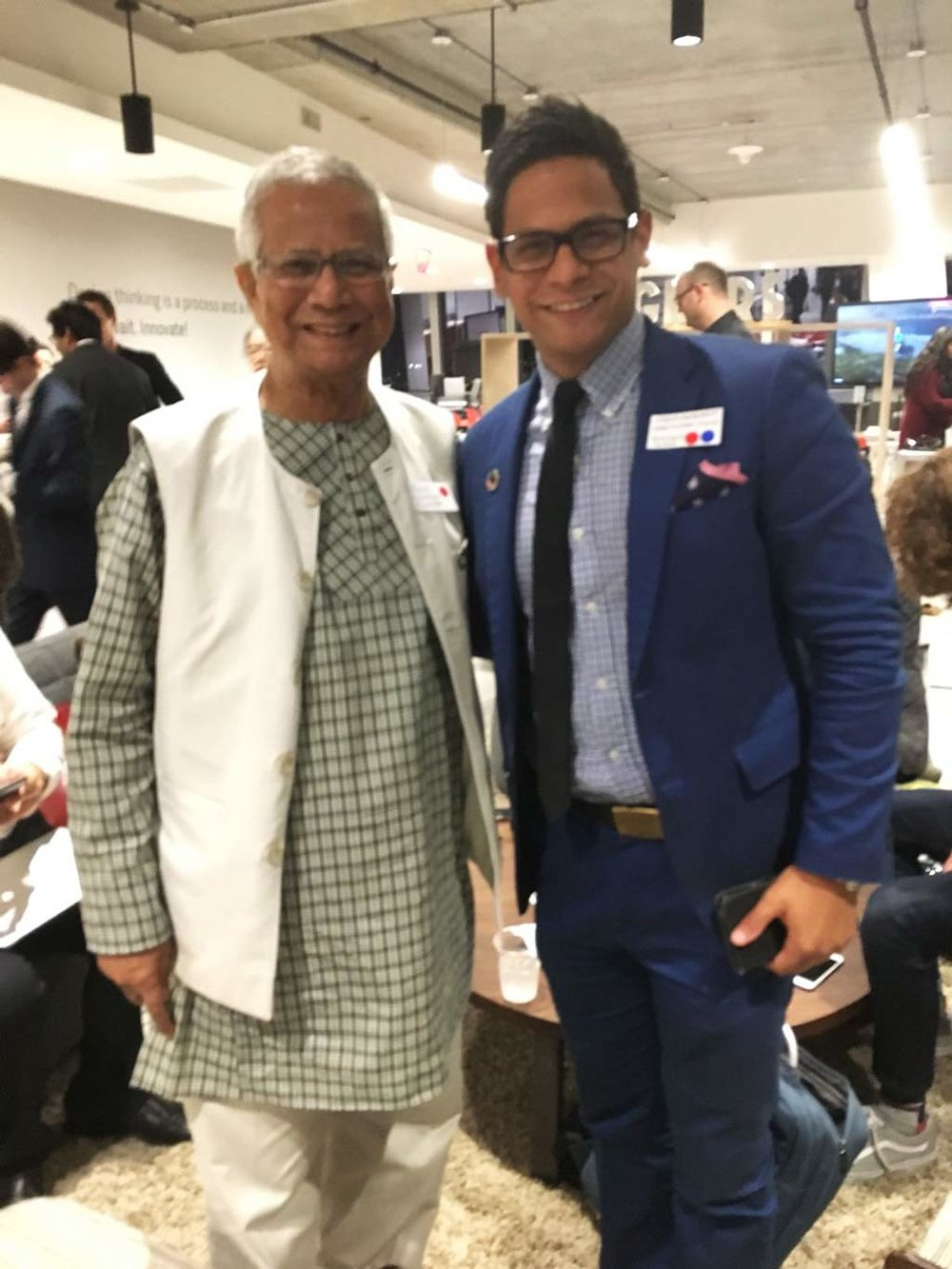 Carlos with Prof Muhammad Yunus, Nobel Peace Prize and Founder of Grameen Bank