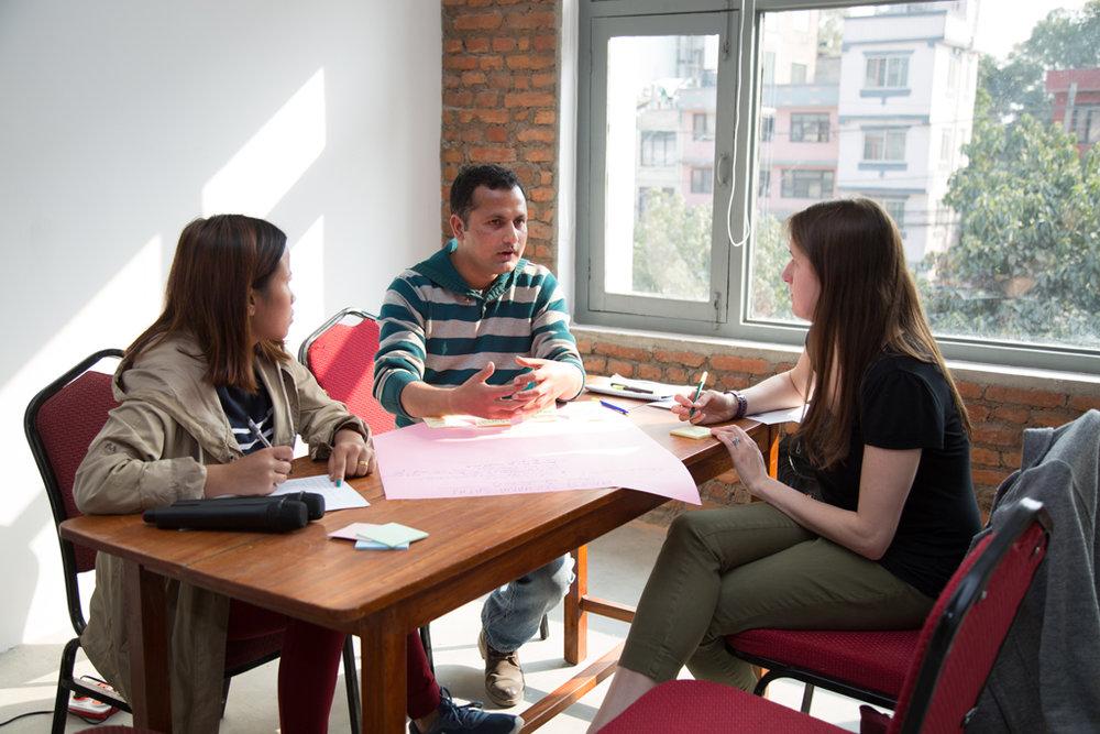 Kate advising social entrepreneurs in Nepal.