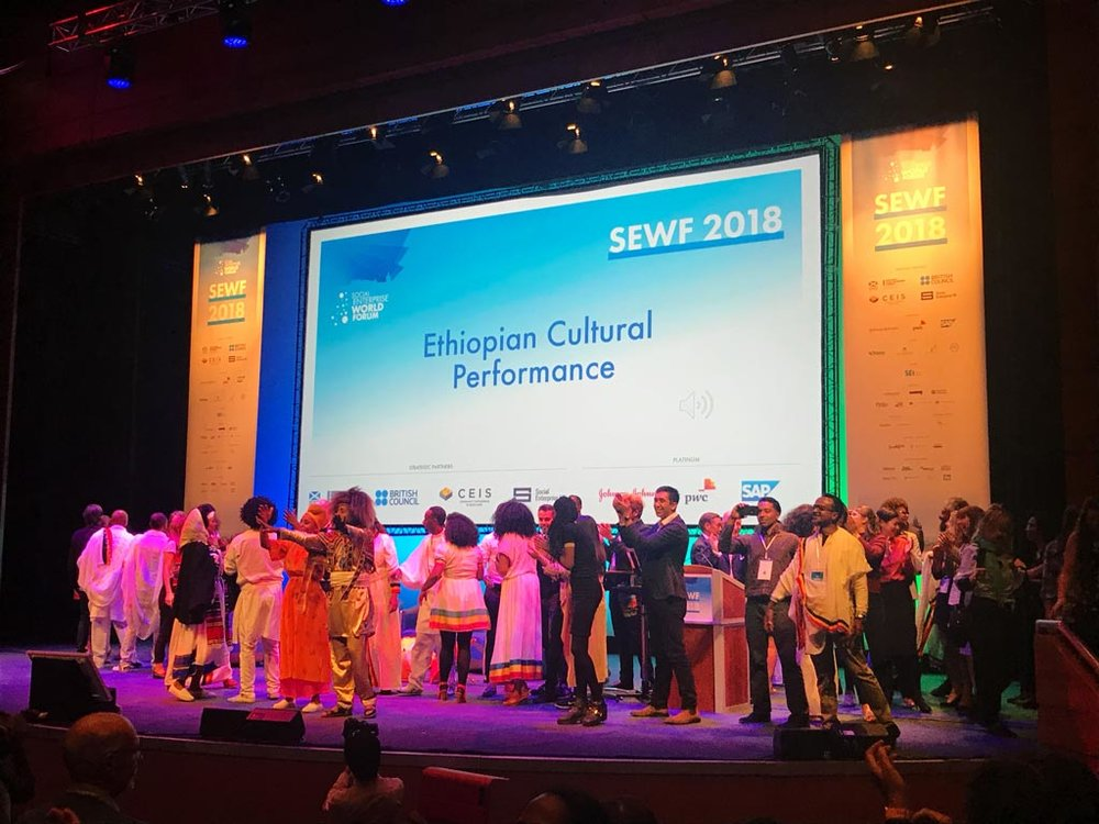 The Ethiopian Delegates dance and celebrate during the official handing over, as hosts of SEWF 2019.