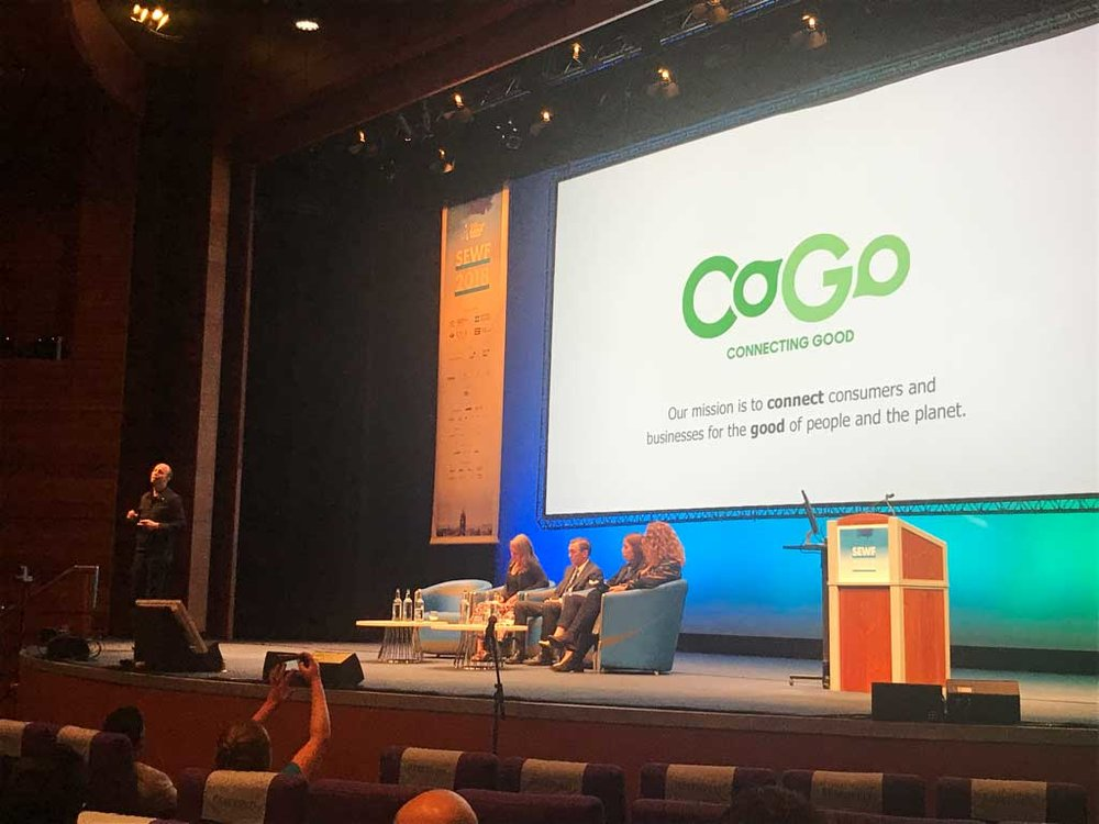 Ben launching CoGo during the Social Enterprise World Forum.