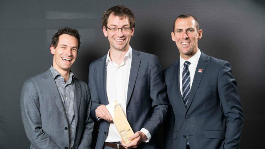 Alex Oppes – Social Ventures Australia, Luke Terry – Vanguard Laundry Services and Sinclair Taylor – Westpac Foundation at the 2016 Social Enterprise Awards. Winners of the Capital for Impact Award