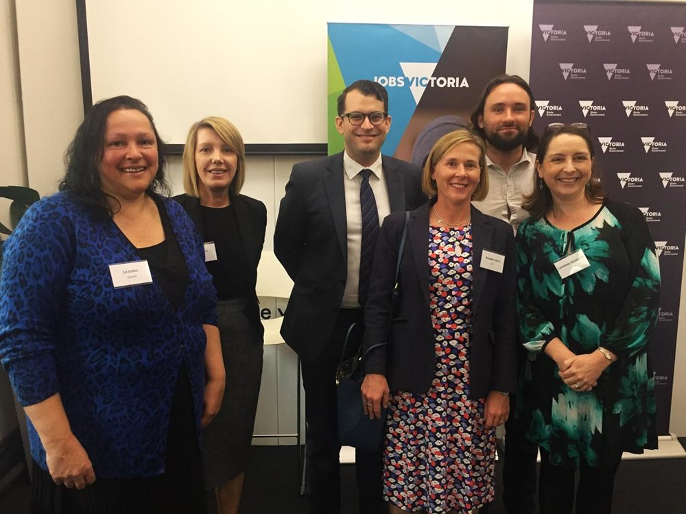 Victorian Government representatives from the Victoria's Social Procurement Framework launch on 26 April 2018.