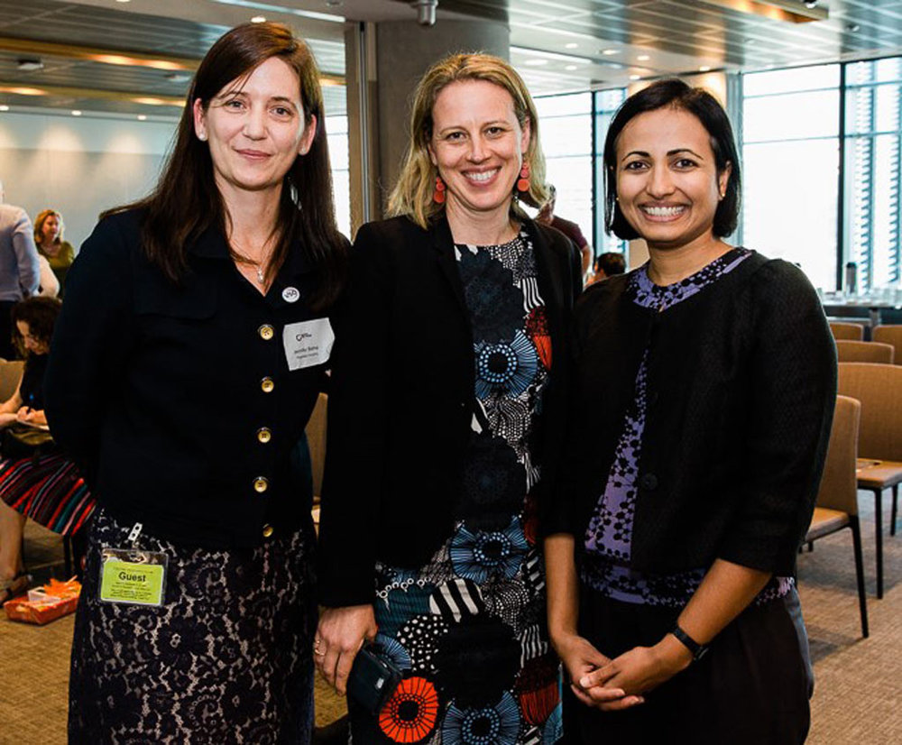 Jennifer Bishop with Sally McGeoch from Westpac Foundation and Lisa George from Macquarie Group Foundation, sponsors of the 2018 Australian Pro Bono Summit in Sydney.