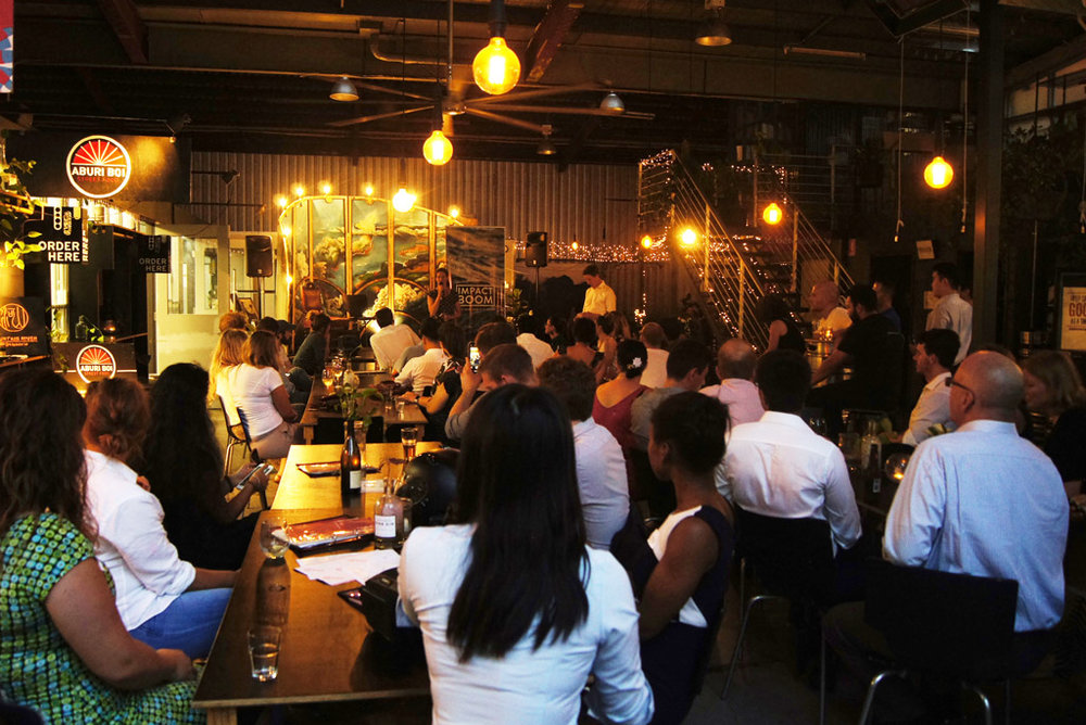 Emma-Kate Rose addresses the Brisbane Social Enterprise Drinks & Networking event recently hosted by QSEC + Impact Boom.