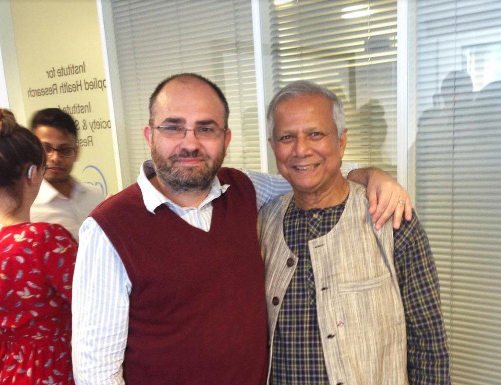 Michael with Nobel Peace Laureate Muhammad Yunus at the Yunus Centre in Glasgow.