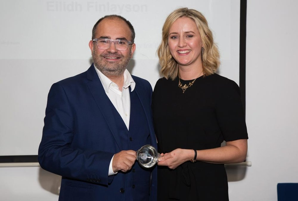 Michael with one of his students: Eilidh Finlayson was awarded Best Student for the class of 2017 for her work on the MSc Social Business and Microfinance.