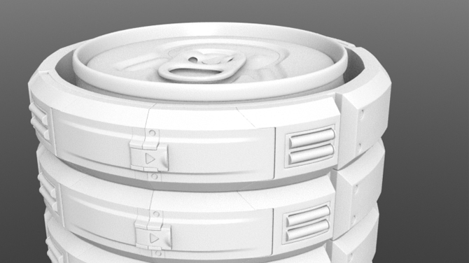 I designed and sculpted this mechanical clamp in Zbrush using hard surface techniques. I had to design it to open / close around a metal can