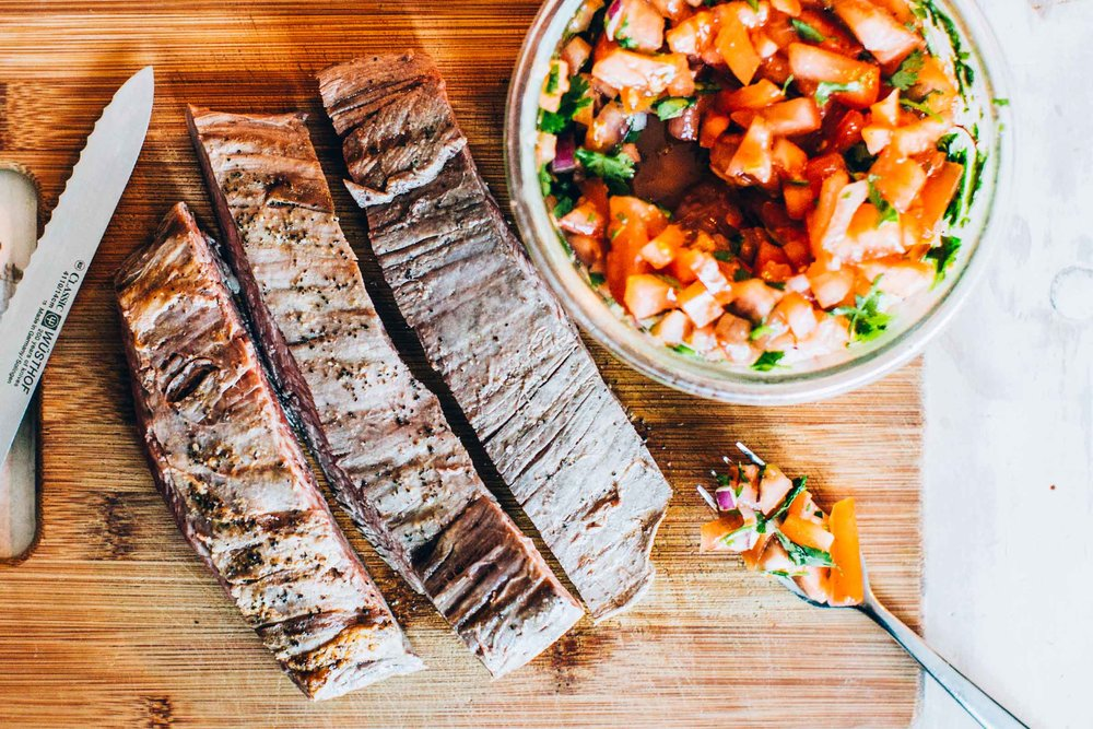 flank steak with homemade pico de gallo