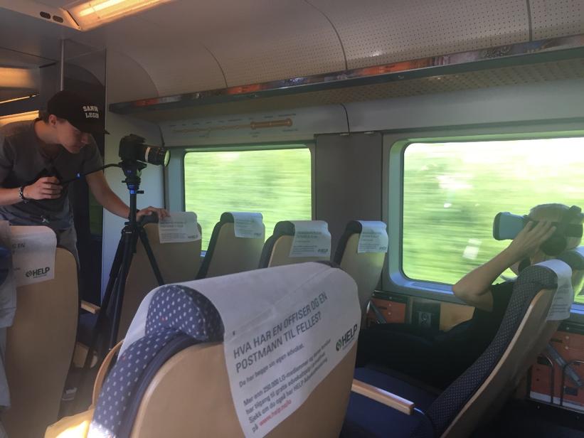 Filming på flytoget i Oslo