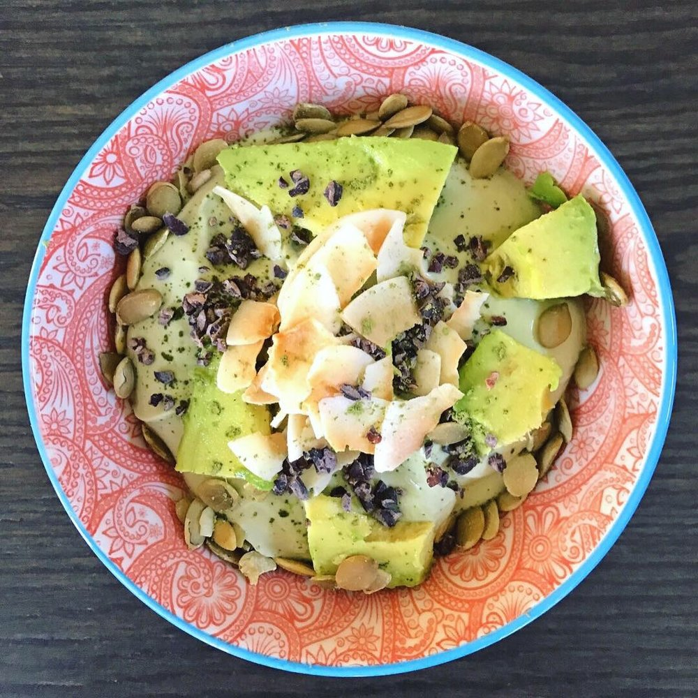 """Matchacado"" Coconut Yogurt (yogurt mixed with matcha and topped with avocado)"