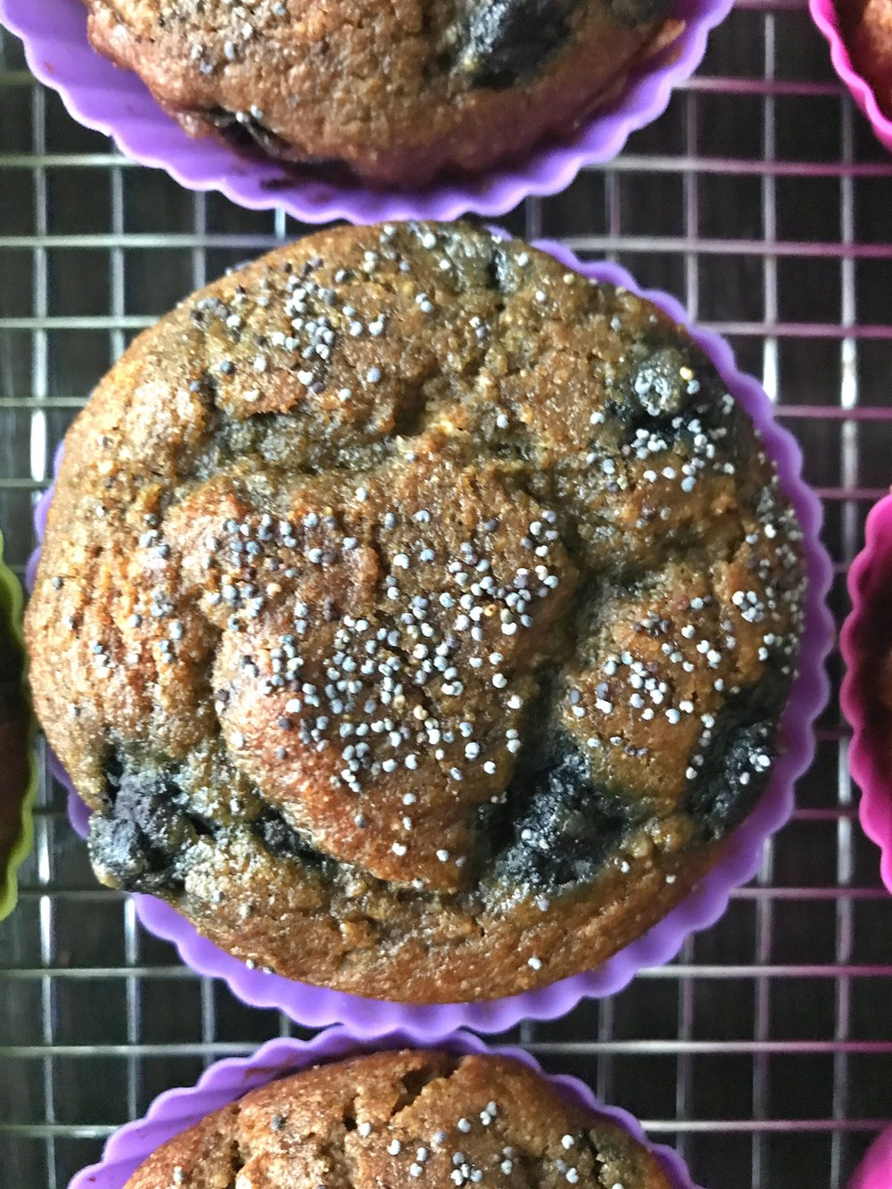 Muffins made with frozen blueberries.