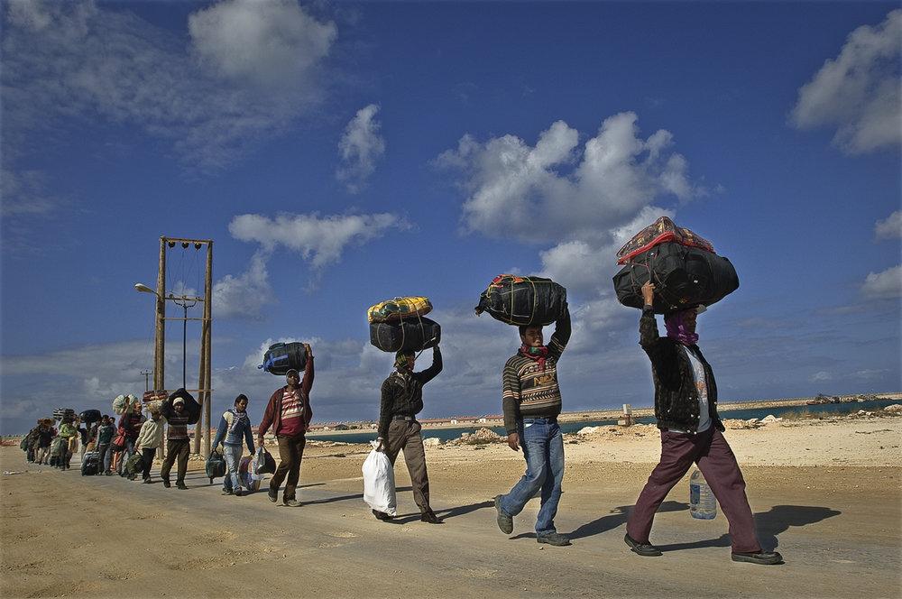Stranded on the border, Egypt, 2011