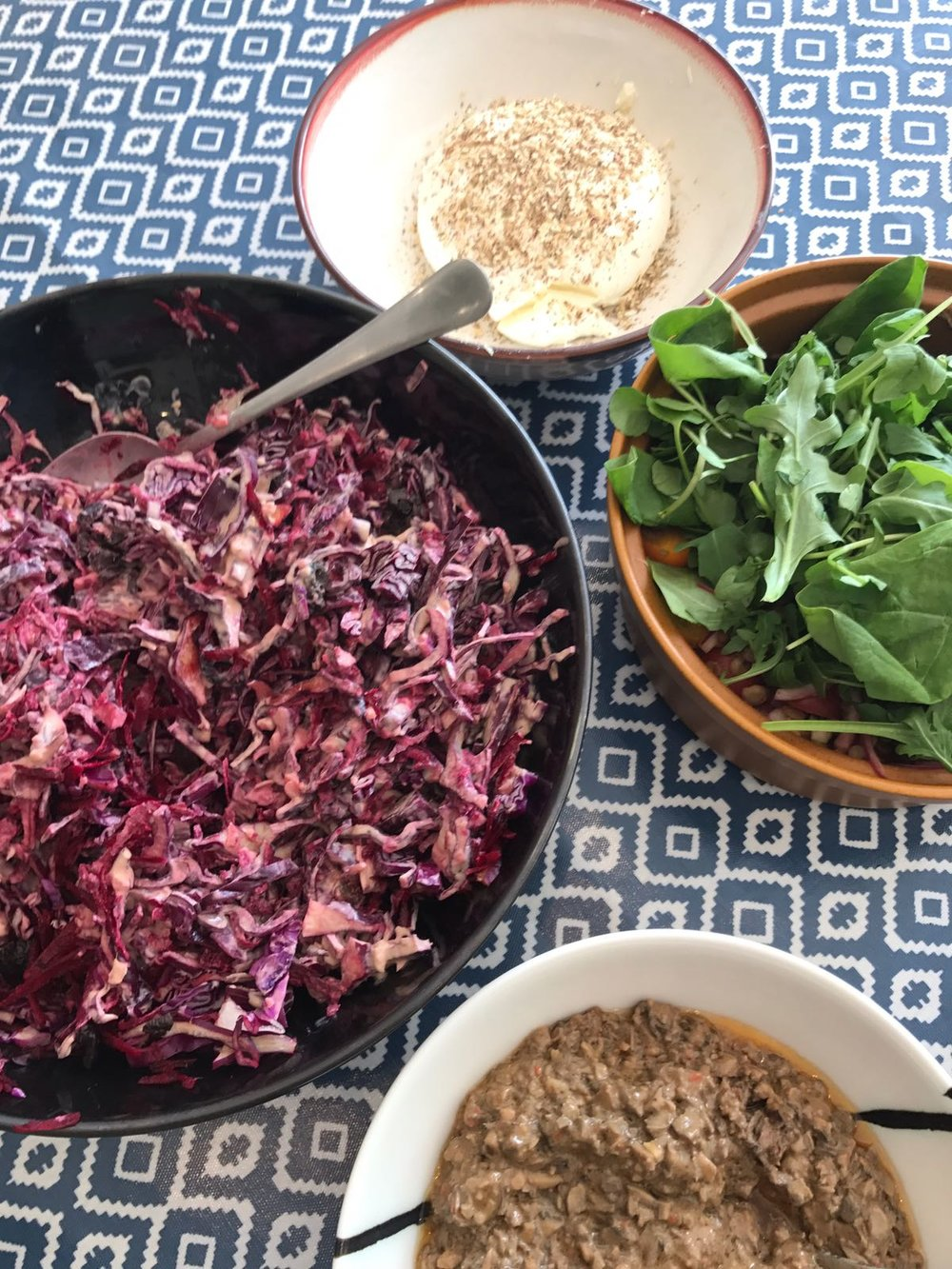 Red Cabbage, Black Olive and Beetroot Coleslaw, Cambodian wedding Day Dip,  Labneh and Lentil and Tomato Salad (before I mixed it!)
