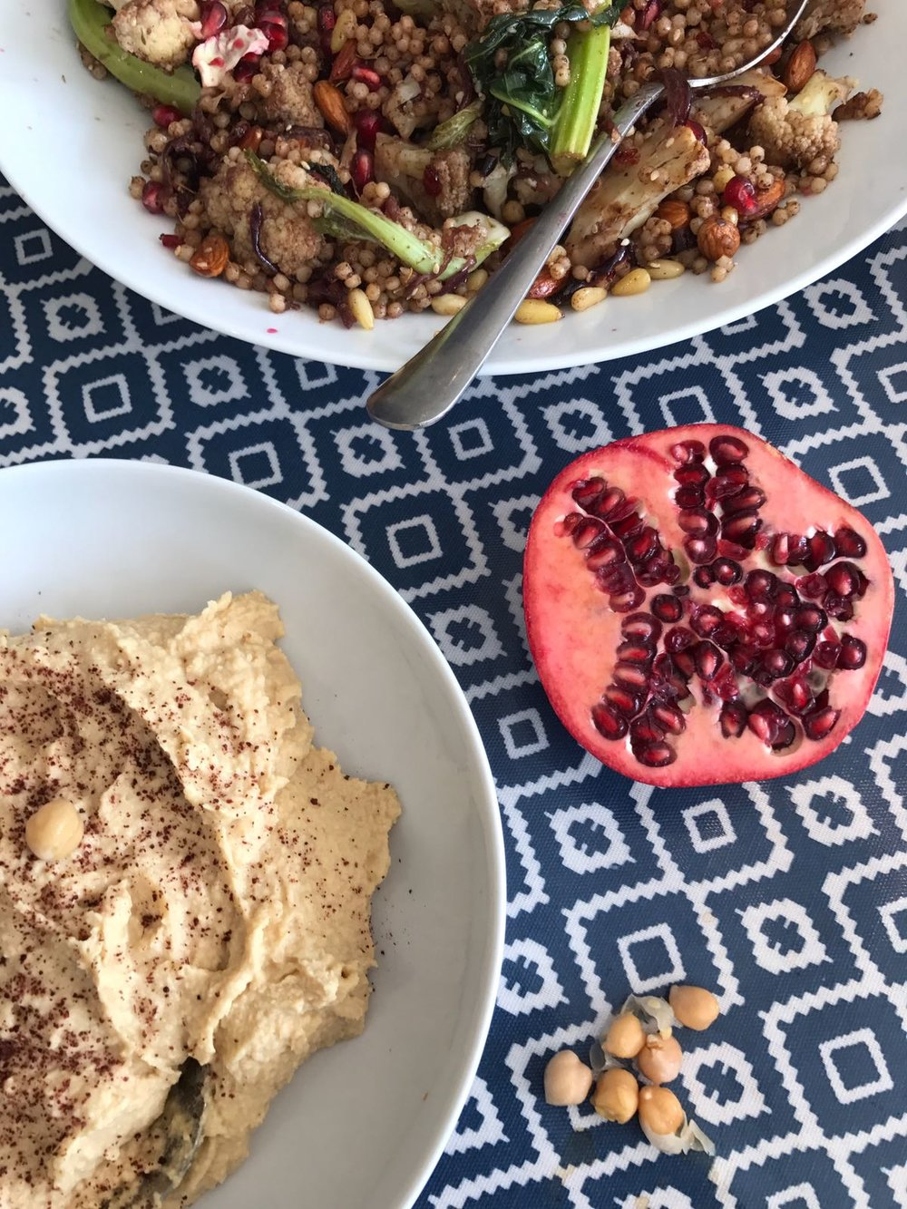 Hummus and  Fried Cauliflower and Caramelized Red Onions, Toasted Israeli Couscous and Almonds