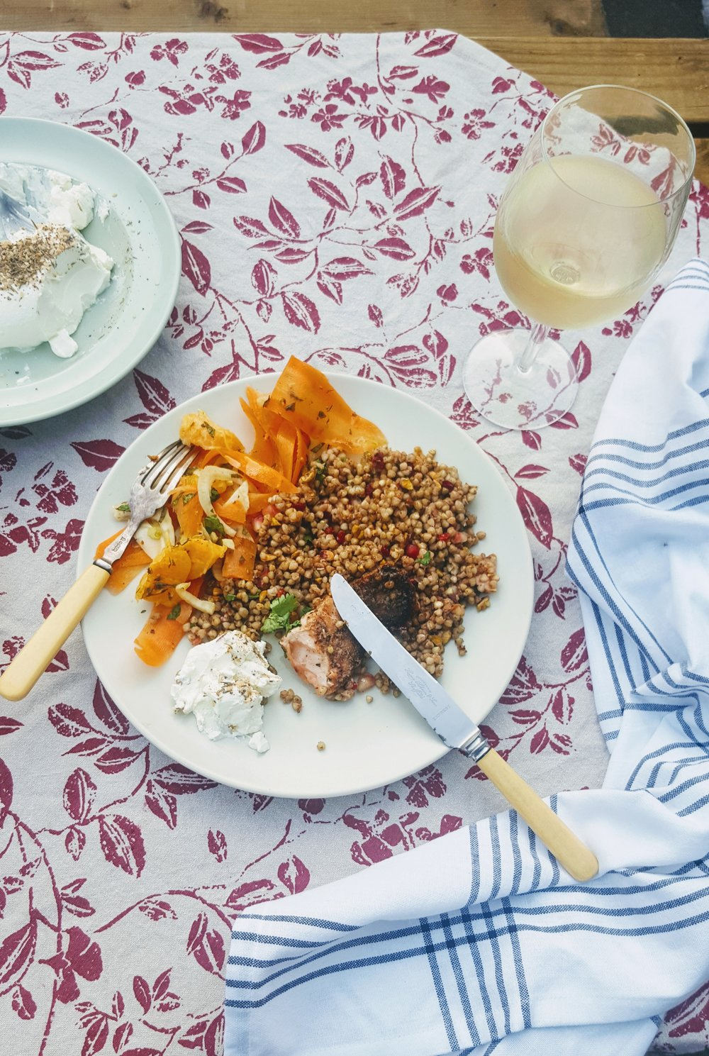 Sticky Pomegranate Salmon with Buckwheat and Barberry Salad with Spiced Pomegranate   Fennel, Orange and Carrot Salad
