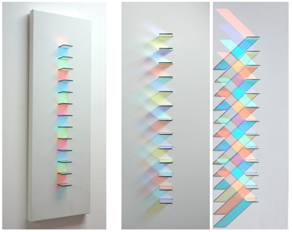 The same simple arrangement of dichroic looks very different in response to changing viewpoints and the angle and intensity of light falling on the work.