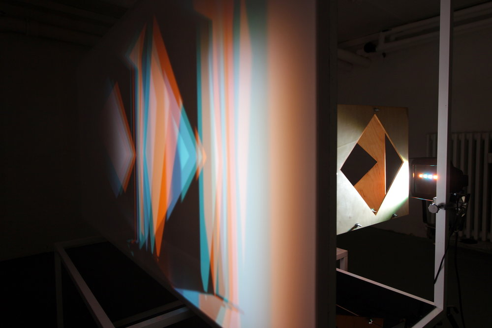 - Kulørt og uroligt skyggespil (Colourful and unobtrusive shadow games), 2017wood, metal, filtered lights, aluminium frame and acrylic sheet (continued from The Sunshine series)