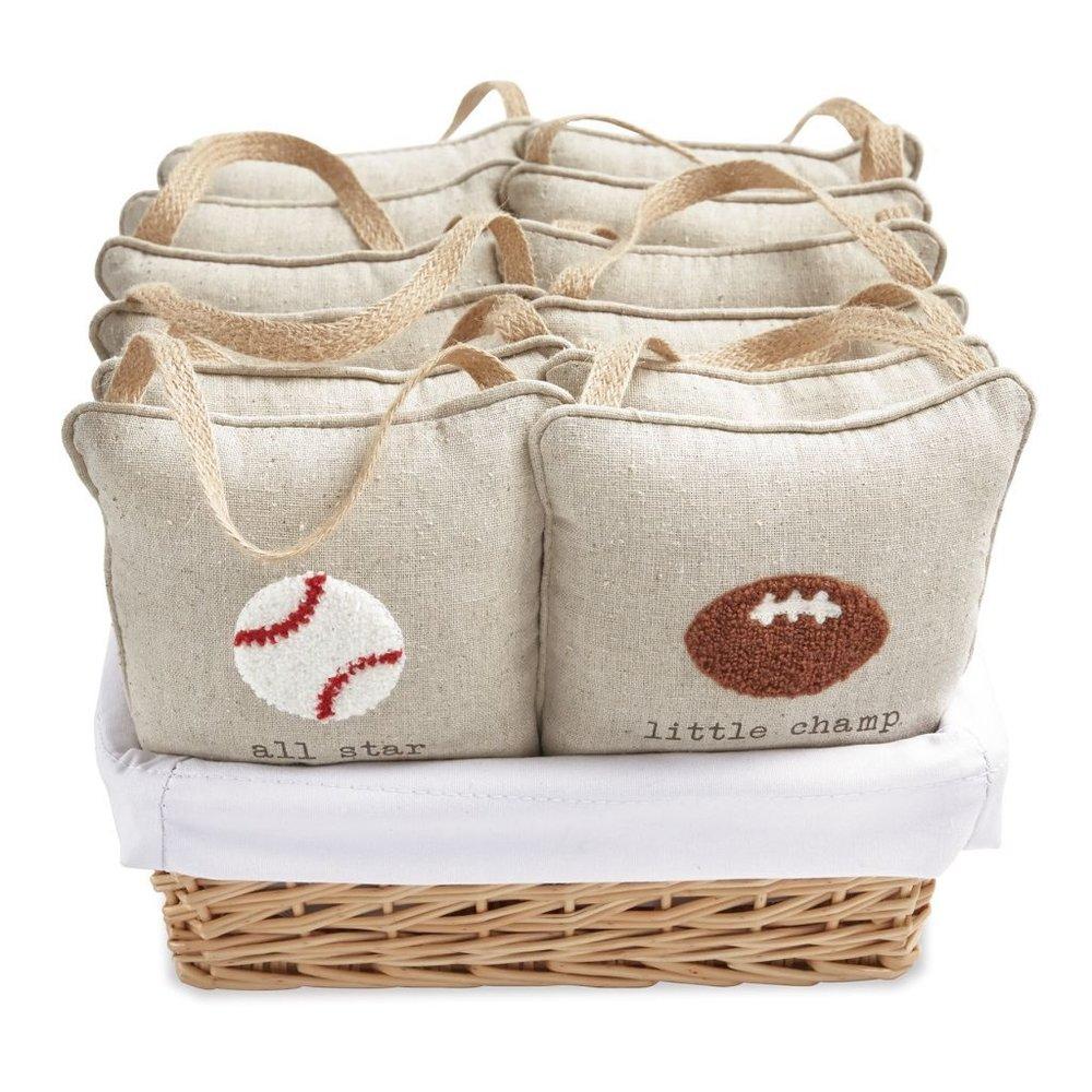 Linen Sports Pillow Basket