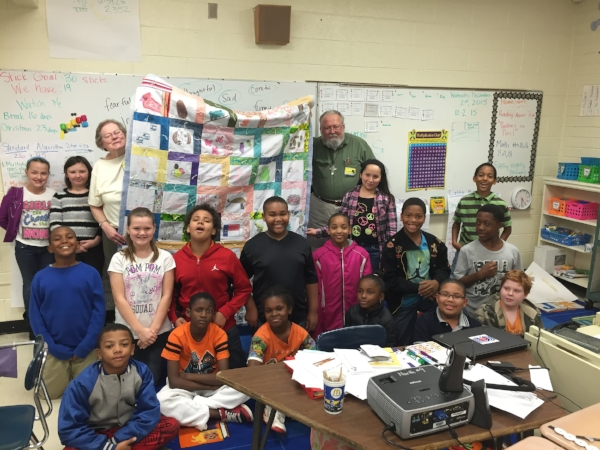 KayLynn Designs 4th Grade Class Quilt Artist-in-Residence Program in Roxboro, NC December 2015