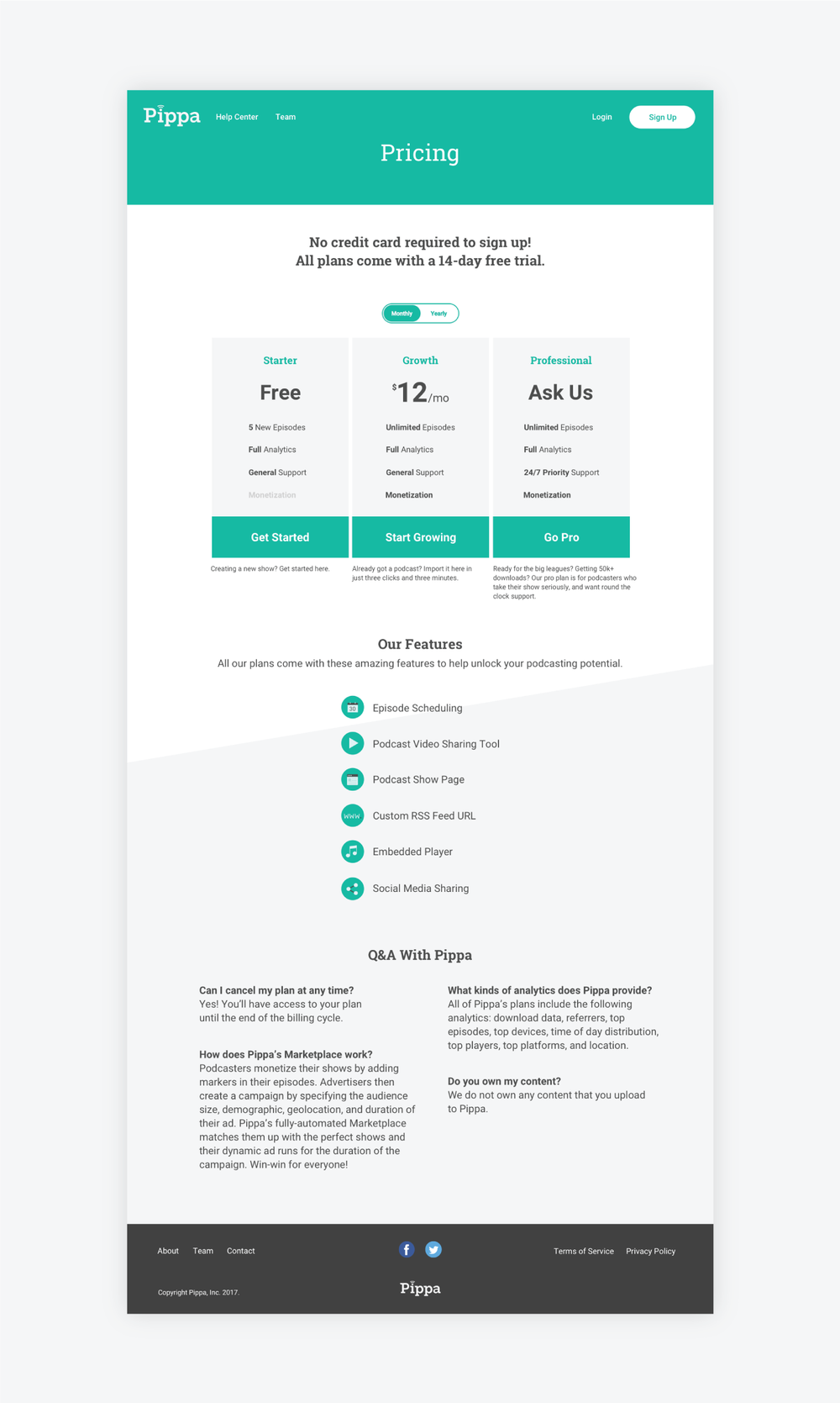 pricing plan web design