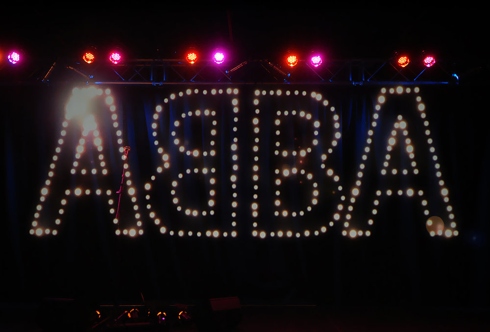 Live and direct: the ubiquitous ABBA logo was even incorporated into the band's stage sets.